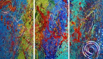 triptych Summer II Caroline Vis Art
