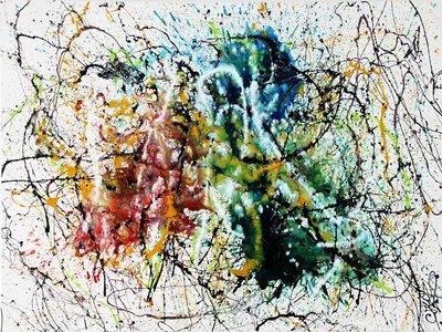 A journey through time is een eigentijds schilderen, uniek en origineel uit de dripping artiest Caroline Vis.