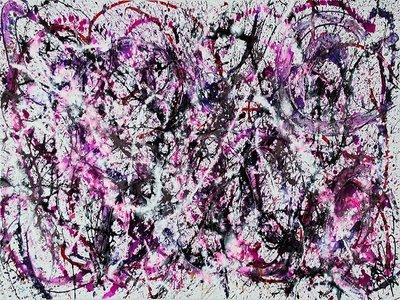 Purple rain is een Abstract schilderkunst op Acryl van 100 x 160 cm