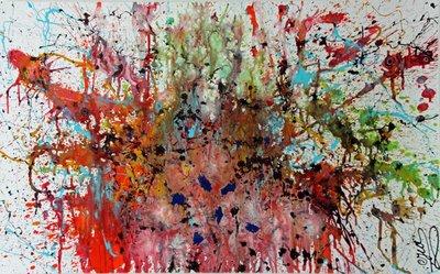 Art moderne de 100 x 160 cm de l'artiste peintre contemporain Caroline Vis contenant la technique du Dripping et du Pour