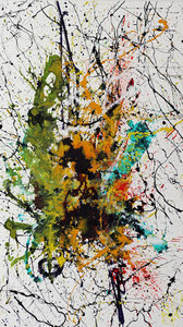 action painting green and yellow by caroline vis