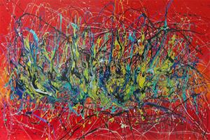 caroline vis celebration red colored art painting