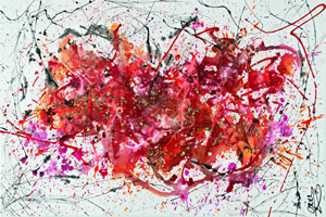 Reflection is a oversized modern painting Caroline Vis with Jackson Pollock style kl kl